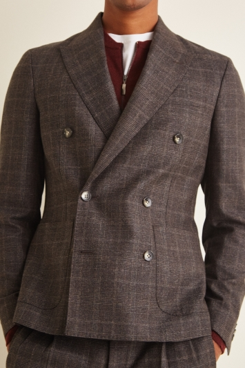 Moss London Slim Fit Italian Brown Check Double Breasted Jacket