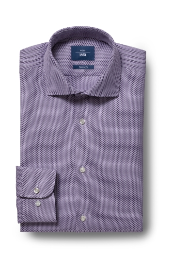 Moss 1851 Tailored Fit Purple Single Cuff Honeycomb Texture Shirt