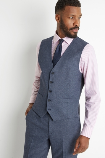 Moss 1851 Tailored Fit Navy Salt & Pepper Waistcoat