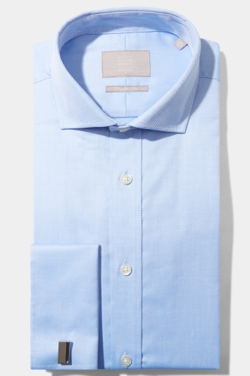 Savoy Taylors Guild Regular Fit Sky Double Cuff Herringbone Shirt