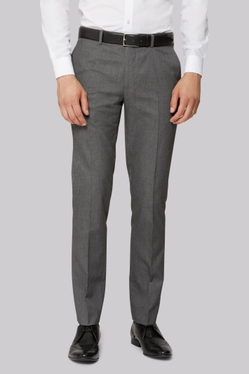 Moss London Slim Fit Machine Washable Grey Trousers