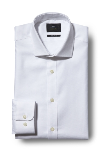Moss London Premium Extra Slim Fit Single Cuff White Egyptian Cotton Textured Shirt