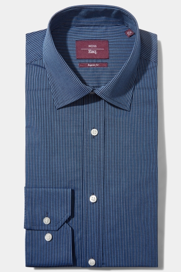 Moss Esq. Regular Fit Blue Single Cuff Stripe Non Iron Shirt
