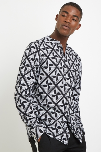 Moss London Skinny Fit Black & White Geo Print Casual Shirt
