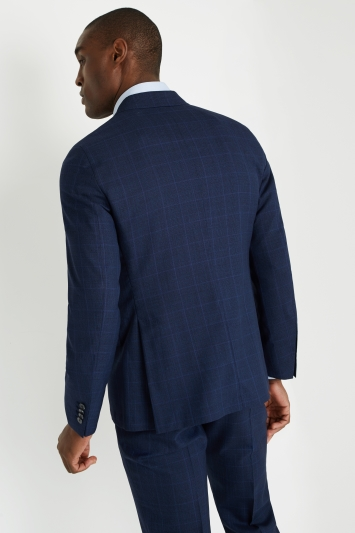 Savoy Taylors Guild Tailored Fit Double Breasted Bright Blue Check Jacket