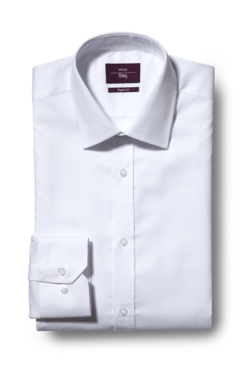 Moss Esq. Regular Fit White Single Cuff Textured Shirt