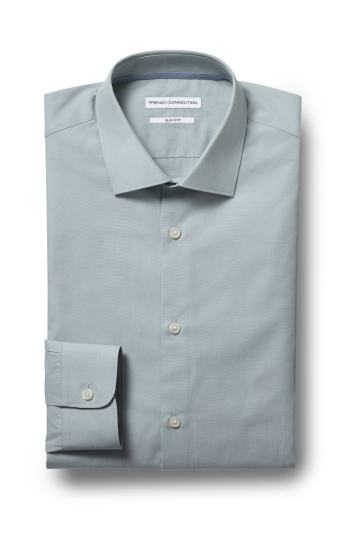 French Connection Slim Fit Green Single Cuff Chambray Shirt