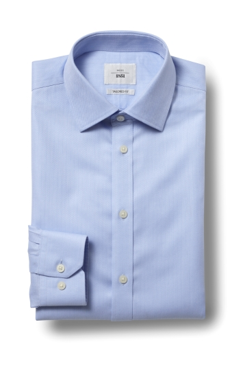 Moss 1851 Tailored Fit Sky Single Cuff Herringbone Zero Iron Shirt
