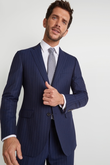 Savoy Taylors Guild Regular Fit Blue Wide Stripe Jacket