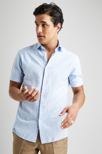 Moss 1851 Tailored Fit Sky Short Sleeve Linen Shirt