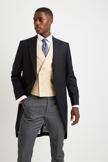 Moss Covent Garden Tailored Fit Yellow Linen Double Breasted Waistcoat