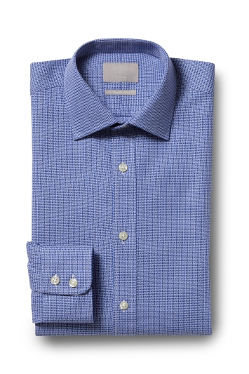 Savoy Taylors Guild Regular Fit Navy Single Cuff Textured Shirt