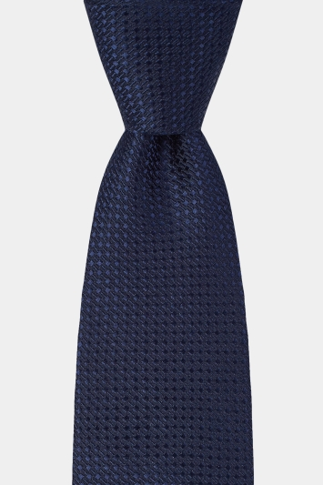 Moss London Navy Textured Tie