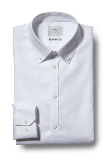 Moss London Premium Extra Slim Fit White Button Down Textured Zero Iron Shirt