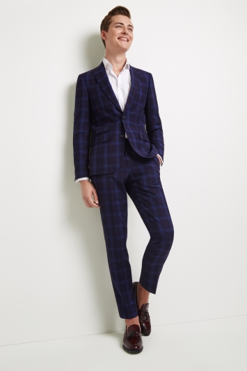 Moss London Skinny Fit Blue Shadow Check Jacket