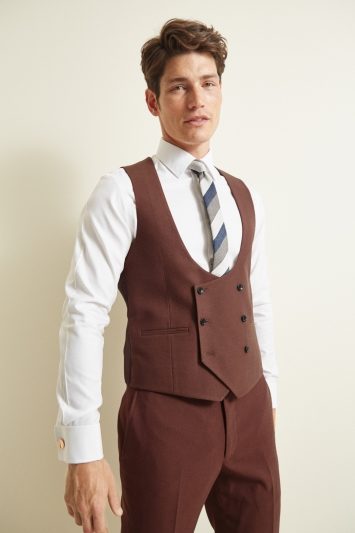 Moss London Skinny/Slim Fit Copper Double Breasted Waistcoat