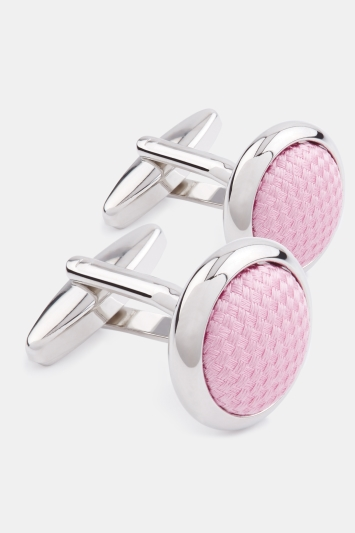 Moss 1851 Silver Circle with Pink Silk Cufflink