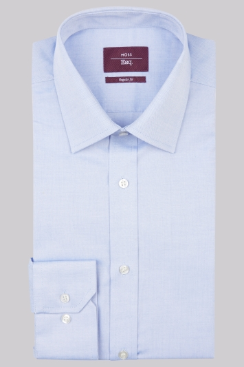 Moss Esq. Regular Fit Blue Single Cuff Oxford Non Iron Shirt