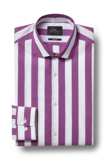 Moss London Skinny Fit Violet Single Cuff Wide Stripe Stretch Shirt