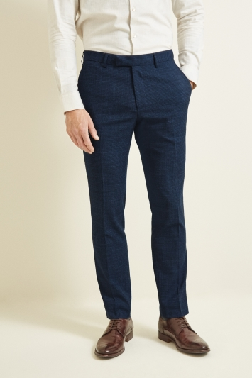 Moss London Skinny Fit Navy Puppytooth Trouser