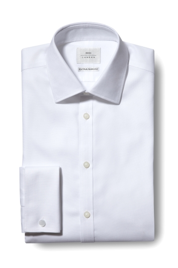 Moss London Premium Extra Slim Fit White Double Cuff Textured Zero Iron Shirt