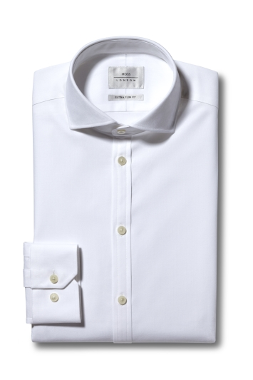 Moss London Premium Extra Slim Fit White Single Cuff Performance Oxford Zero Iron Shirt