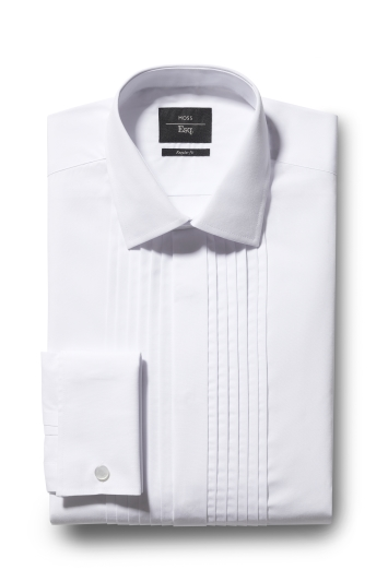 Moss Esq. Regular Fit White Double Cuff Pleat Dress Shirt