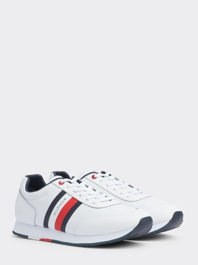 Tommy Hilfiger White Leather Flat Runner Trainer