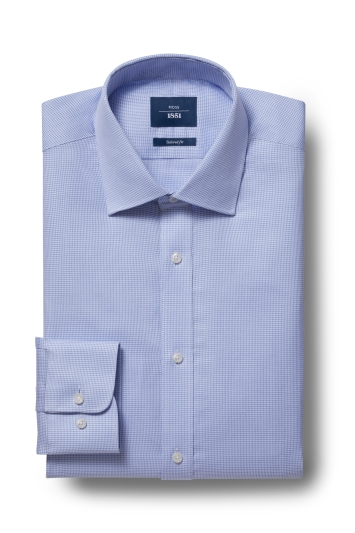 Moss 1851 Tailored Fit Sky Single Cuff Textured Shirt