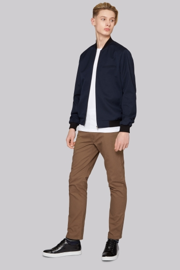 Moss London Slim Fit Navy Bomber Jacket