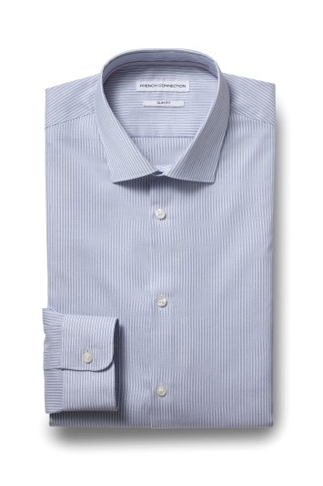 French Connection Slim Fit Blue Single Cuff Stripe Shirt