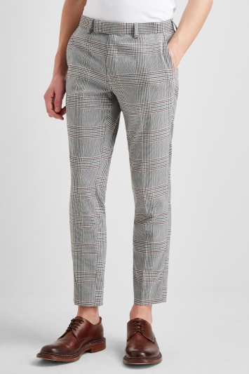 Moss London Slim Fit Bold Windowpane Crop Trousers
