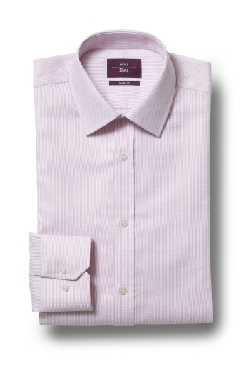 Moss Esq. Regular Fit Pink Single Cuff Dobby Non Iron Shirt