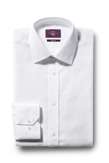 Moss Esq. Regular Fit White Single Cuff Jacquard Shirt