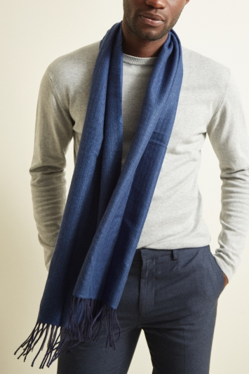 Moss 1851 Blue Plain Herringbone Scarf