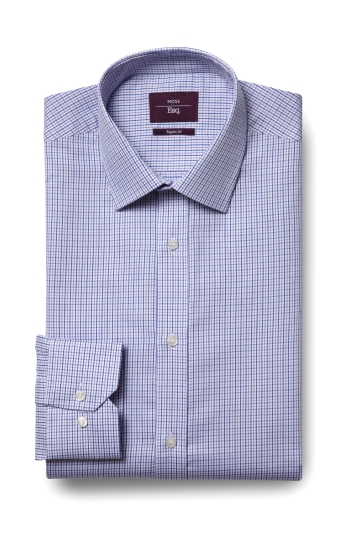 Moss Esq. Regular Fit Lilac Single Cuff Check Shirt