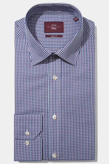 Moss Esq. Regular Fit Purple & Blue Single Cuff Check Non Iron Shirt