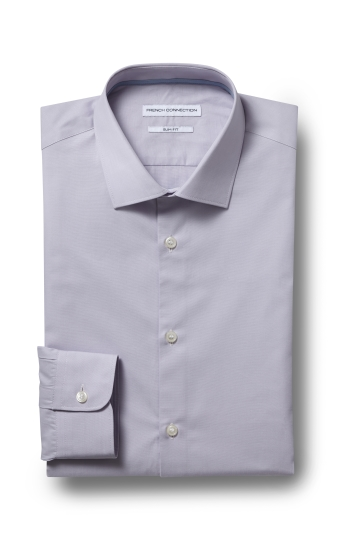 French Connection Slim Fit Lilac Single Cuff Chambray Shirt