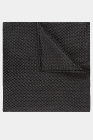 Moss Esq. Black Textured Natte Pocket Square