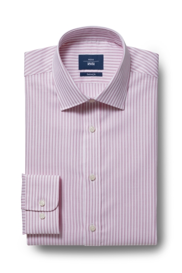Moss 1851 Tailored Fit Pink Single Cuff Bengal Shirt