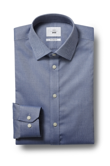 Moss 1851 Tailored Fit Navy Single Cuff Textured Zero Iron Shirt