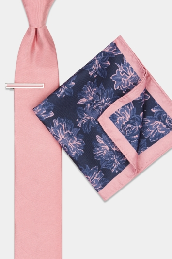 Moss London Pink Floral Tie, Pocket Square & Tie Bar Set