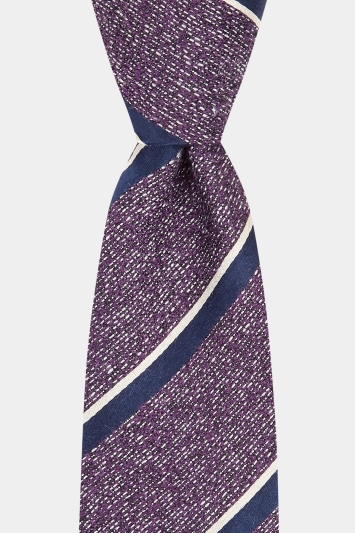 Moss London Premium Purple with Black & White Stripe Tie