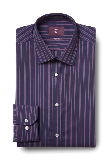 Moss Esq. Regular Fit Pink Single Cuff Stripe Shirt