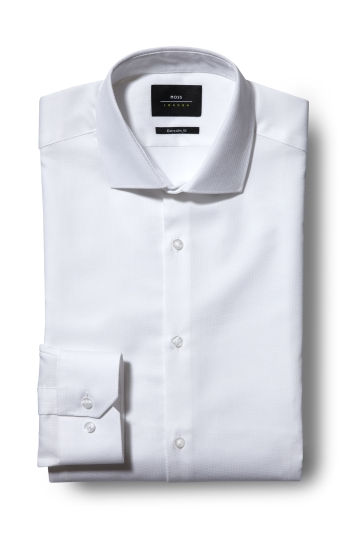Moss London Extra Slim Fit White Single Cuff Textured Shirt