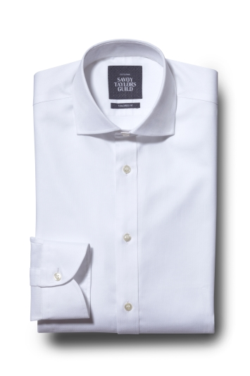 Savoy Taylors Guild Tailored Fit White Single Cuff Oxford Shirt