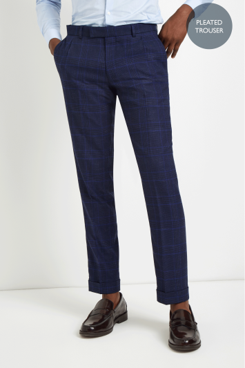 Moss London Skinny Fit Blue Bold Check Pleated Trousers