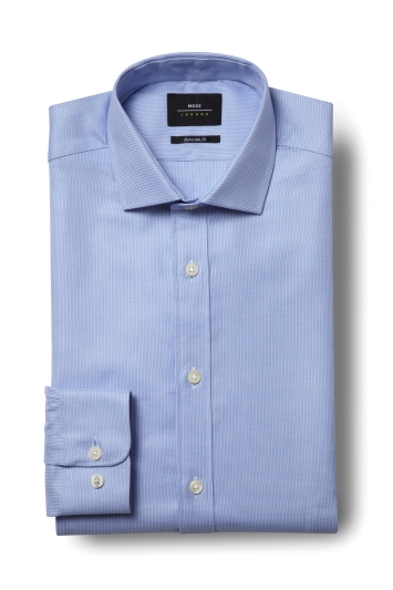 Moss London Premium Extra Slim Fit Single Cuff Sky Egyptian Cotton Textured Shirt