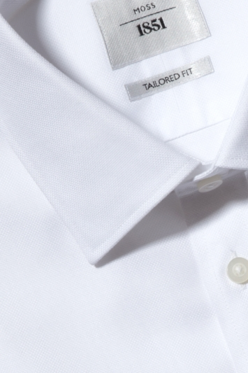Moss 1851 Tailored Fit White Double Cuff Textured Zero Iron Shirt