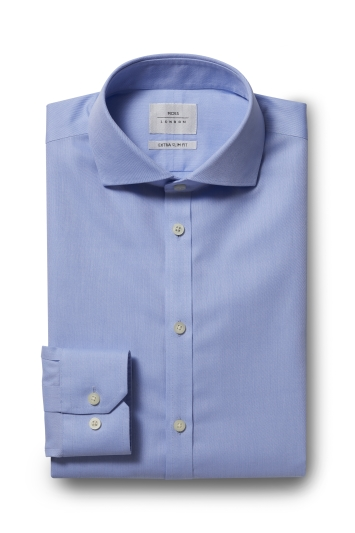 Moss London Premium Extra Slim Fit Blue Single Cuff Twill Zero Iron Shirt